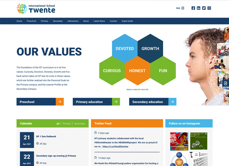 International School TwenteWordPress site case