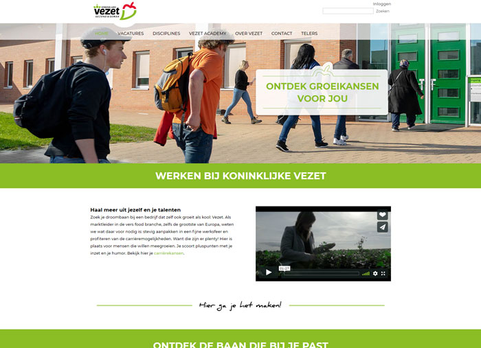 Koninklijke VezetAFAS OutSite Werkenbij website case